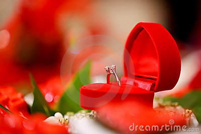 Diamond wedding ring in red heart box
