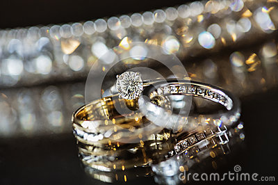 Diamond and Wedding Rings Stock Photo