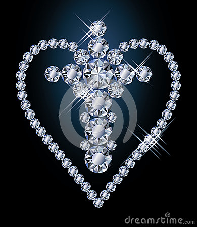 Diamonds cross and heart