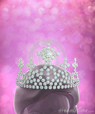 Diamonds crown on women head in pink glitter backg