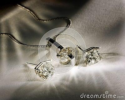 Diamonds Earings and Pendant