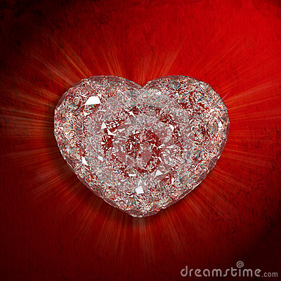 Diamonds heart shaped gemstone  on red velvet back