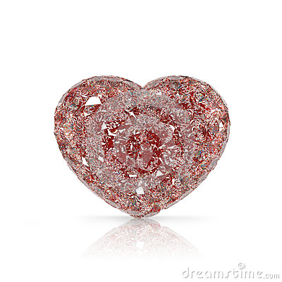 Diamonds heart shaped gemstone  on white backgroun