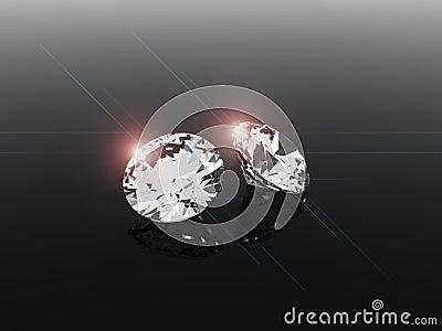 Diamonds on reflective surface