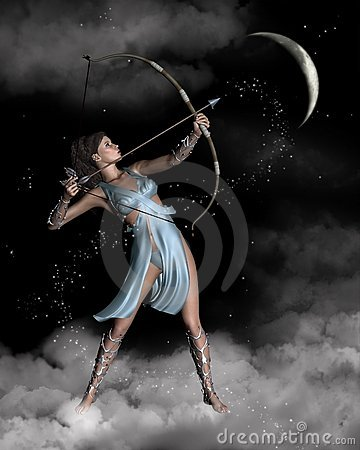 Diana (Artemis) the Huntress with Crescent Moon