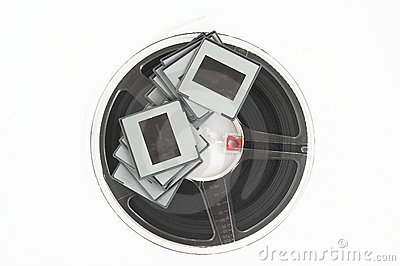 Diapositivas de película y rollo de película analogicos