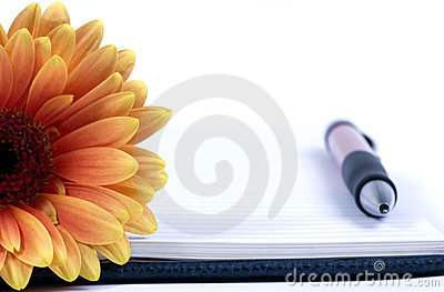 Diary and flower