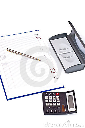 Diary pen and calculator