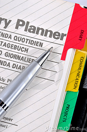 Diary plan and sliver gray pen