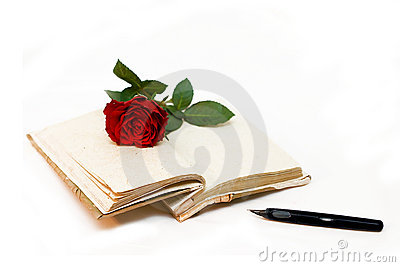 Diary and  red rose