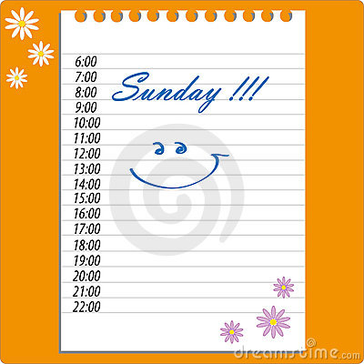 Diary sunday vector sheet