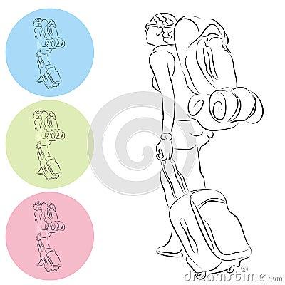 Dibujo lineal de la muchacha del recorrido del morral del equipaje