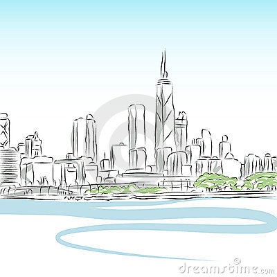Dibujo lineal del paisaje urbano de Chicago
