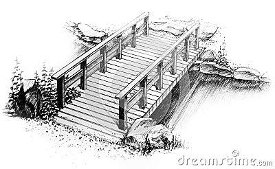 Dibujo a pulso gráfico del puente de madera