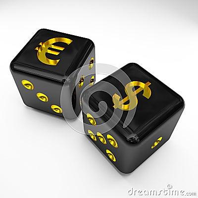 Free Dice 3d With Dollar And Euro Symbol Stock Photos - 5373863