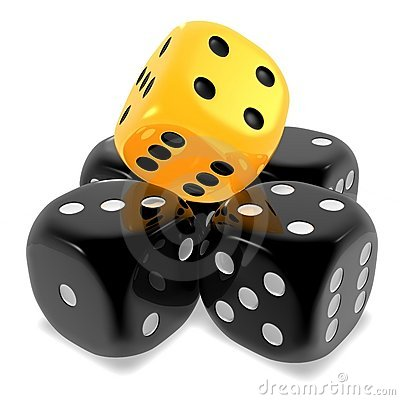 Dice black and yellow