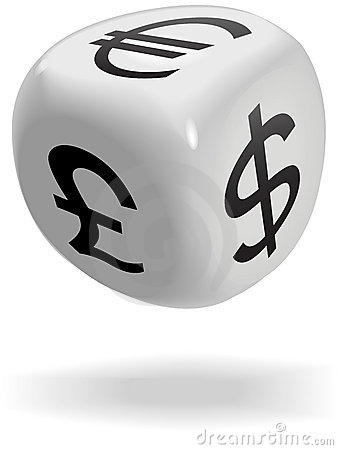 Dice cube rolls currency symbols of money game