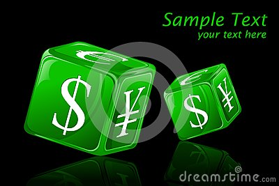 Dice with Currency Symbol