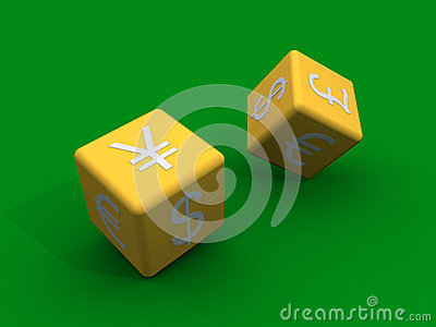 Dice with currency symbols at their sides