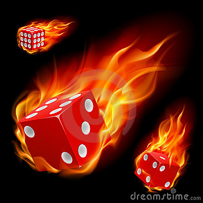 Dice in fire