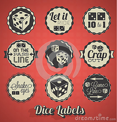 Free Dice Games Labels Royalty Free Stock Photos - 30209668