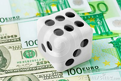 Dice on money background