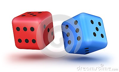 Dice red and blue