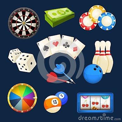 Free Dice, Snooker, Casino Games, Cards And Other Popular Entertainments. Vector Icon Set Stock Photos - 99292353