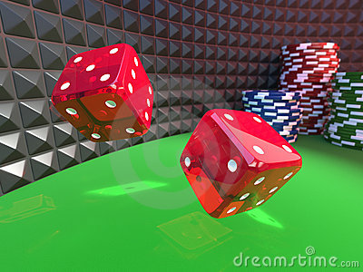 Dices on a casino table