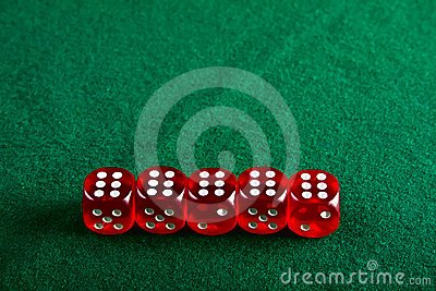 Dices on the green cloth
