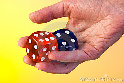 Dices in hand