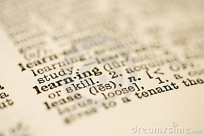 Dictionary entry for learning.