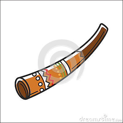 Free Didgeridoo Musical Instrument Isolated On White Vector Illustration Royalty Free Stock Images - 95552469