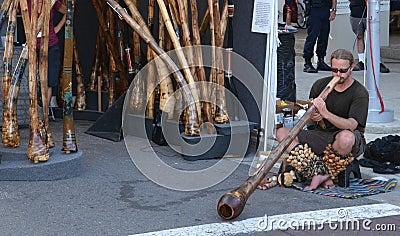 Didgeridoo player at Ann Arbor Art Fair Editorial Photo