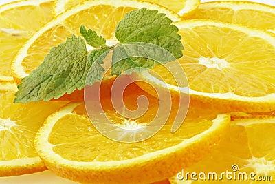 Die Blätter der Minze liegend auf orange Segmenten.