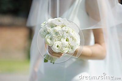 Die Braut, die weiße Hochzeit anhält, blüht Blumenstrauß