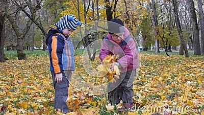 die jahreszeit, herbst kinder, die in der natur spielen stock footage - video von traum