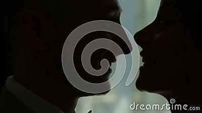 Die Jungvermählten stehen am Fenster im Profil Schattenbild Die Braut und der Bräutigam stock video