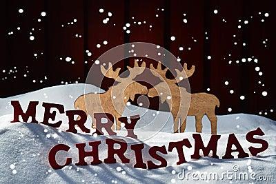die karte gedenkw rdig elch paar schneien frohe weihnachten schneeflocken stockfoto bild. Black Bedroom Furniture Sets. Home Design Ideas