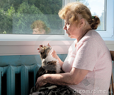 Die Liebkosungkatze der alten Frau