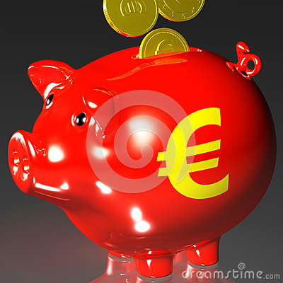 Die Münzen, die Piggybank anmelden, zeigt europäische Darlehen
