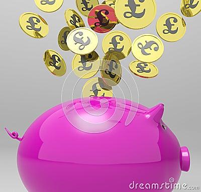 Die Münzen, die Piggybank anmelden, zeigt Großbritannien-Investitionen