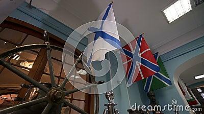 Die russische Marine-Fahne, alias die St- Andrews` s Flagge stock video