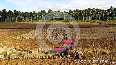 Die Zugmaschine pflügt das Land Bodenzubereitung zur Reissäung stock video footage