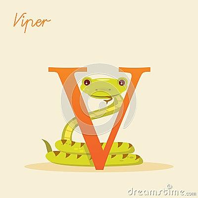 Dierlijk alfabet met adder