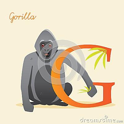 Dierlijk alfabet met gorilla