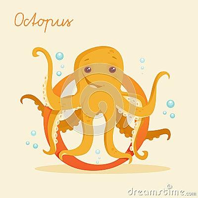 Dierlijk alfabet met octopus