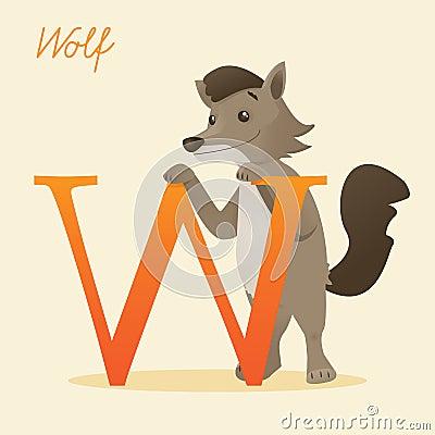Dierlijk alfabet met wolf