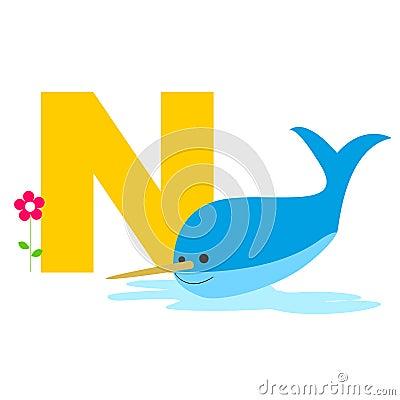 Dierlijke alfabetbrief - N