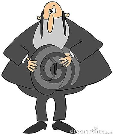 Rabbiner, der seinen Hut hält
